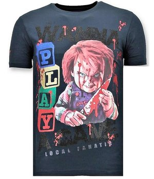 Local Fanatic Luxus Männer-T-Shirt - Chucky Childs Play - Navy