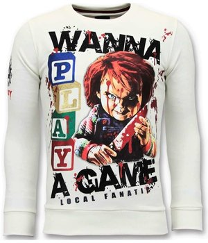 Local Fanatic Exklusive Herren Sweater - Chucky Childs Play - Weiß