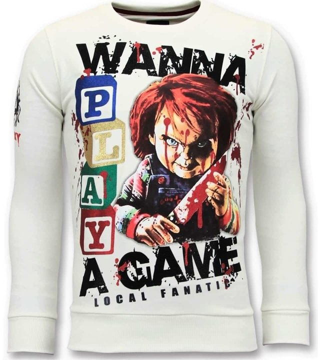 Local Fanatic Exklusive Herren Sweater - Chucky Childs Play - Weiß