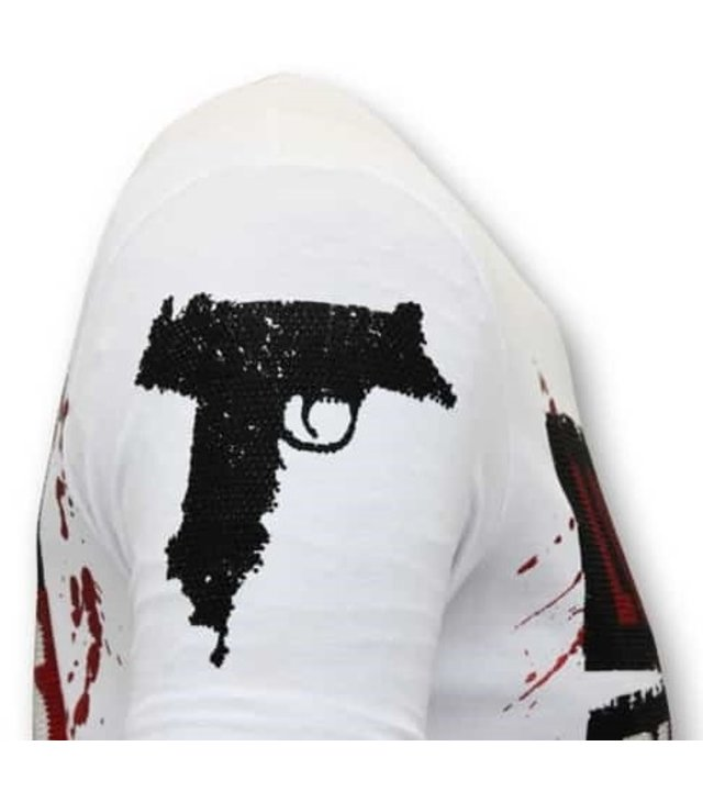 Local Fanatic Luxuxmann T-Shirt - Los Jefes Die Narcos - White