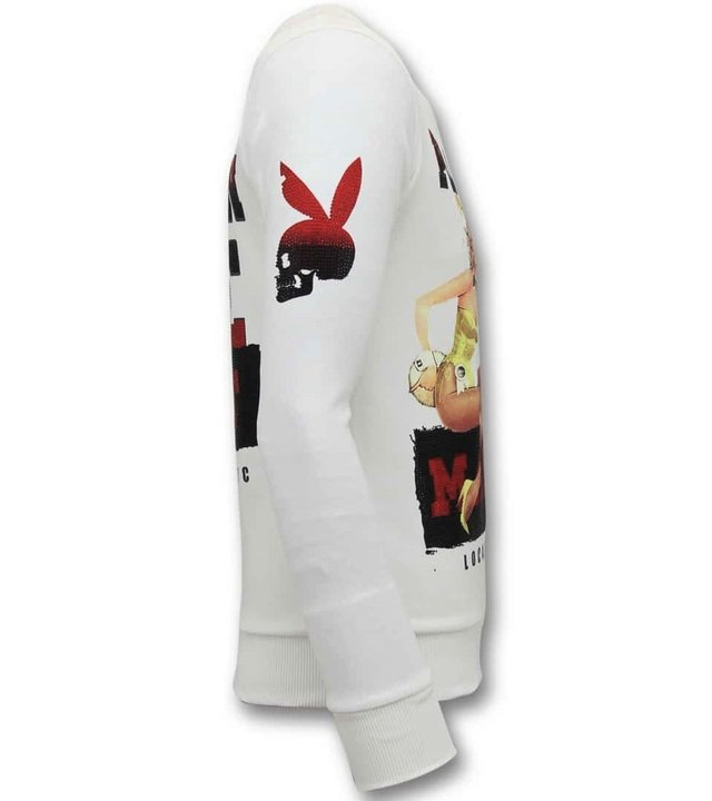 Local Fanatic Exklusive Herren Sweater - The Playtoy Mansion - White