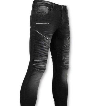 True Rise Luxuxmänner Biker Jeans Zip - 3025-2 - Schwarz