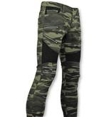 True Rise Luxus Armee Art - Männer Biker Jeans Zip - 3025-18 - Grün