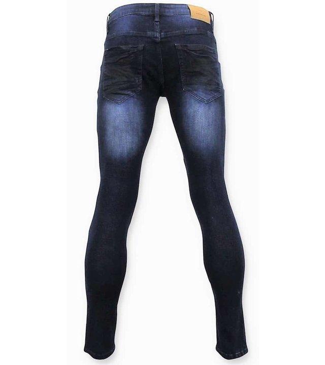 True Rise Männer Biker Jeans Zerrissene - 3027 - Blau