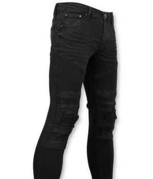 True Rise Exklusive Herren Biker Jeans Zerrissene - 3029-2 - Schwarz