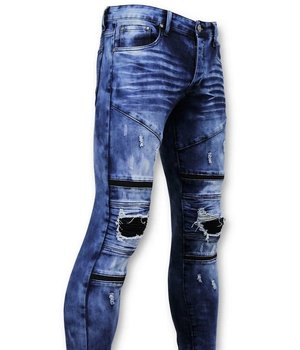 True Rise Tough Biker Jeans Men Ripped - 3029-15 - blau
