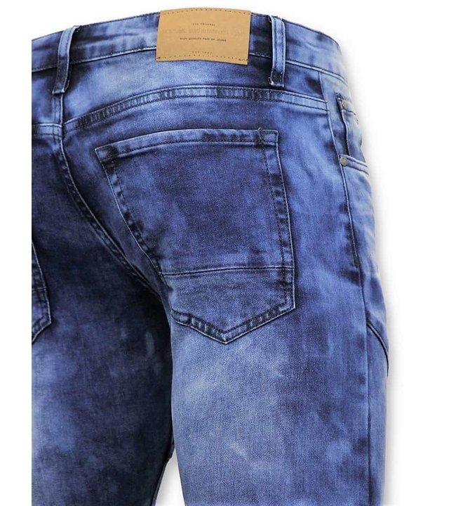 True Rise Tough Biker Jeans Men Ripped - 3029-15 - blau