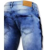 True Rise Biker Jeans Men Ripped - 3028-16 - blau