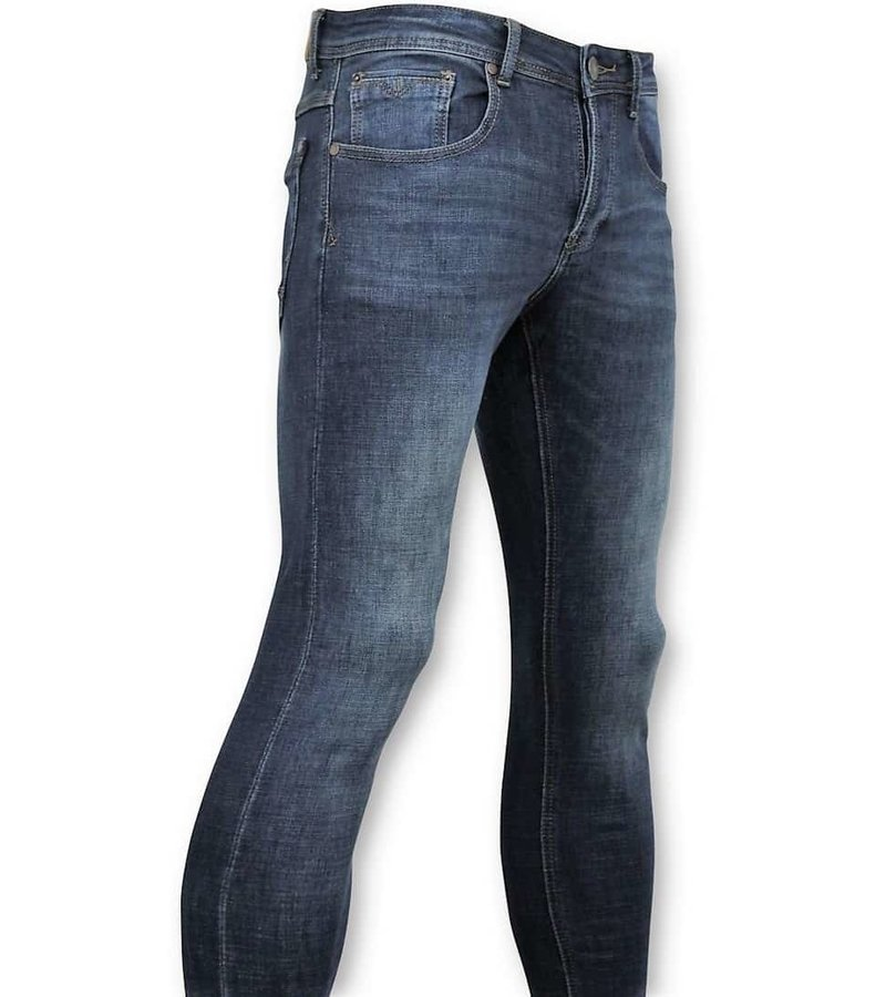 True Rise Klassische Herren Jeans - Jeans Washed - D3060 - Blau
