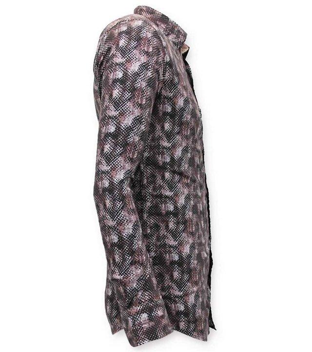 Tony Backer Exklusive Männer Slim Fit Bluse - Digital Printing - 3060 - Braun