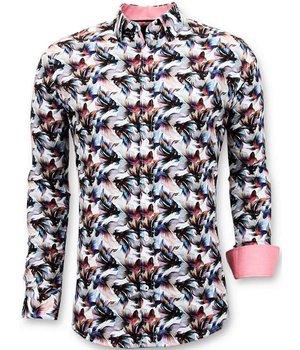 Tony Backer Exklusive Männer Slim Fit Shirt - Digital-Blumendruck - 3052 - Weiß