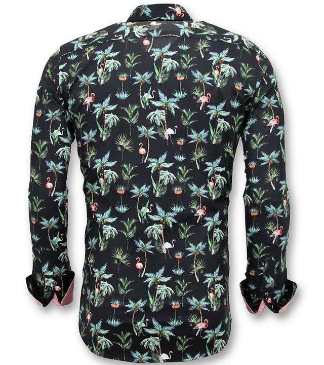 Tony Backer Exklusive beiläufige Männer Shirts - Digital-Blumendruck - 3056 - Schwarz