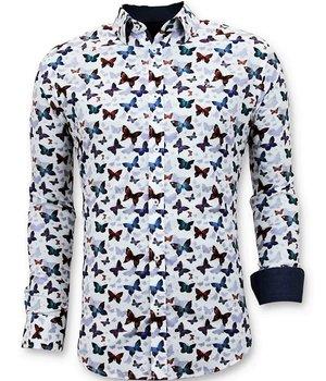 Tony Backer Exklusive Herrenhemden - Digital Printing Schmetterlinge - 3057 - Weiß