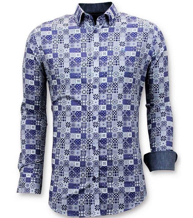 Tony Backer Exclusive Trendy Herren Shirts - Digital Printing Cool - 3055 - Blau
