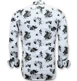 Tony Backer Drucken Exclusive Floral Herrenhemden - Digitalerdruck -  3059 - Weiß