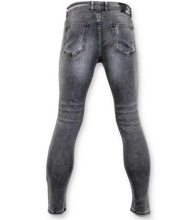 True Rise Hosen Skinny Fit - Abgenutzte Jeans Men - A13E - Grau