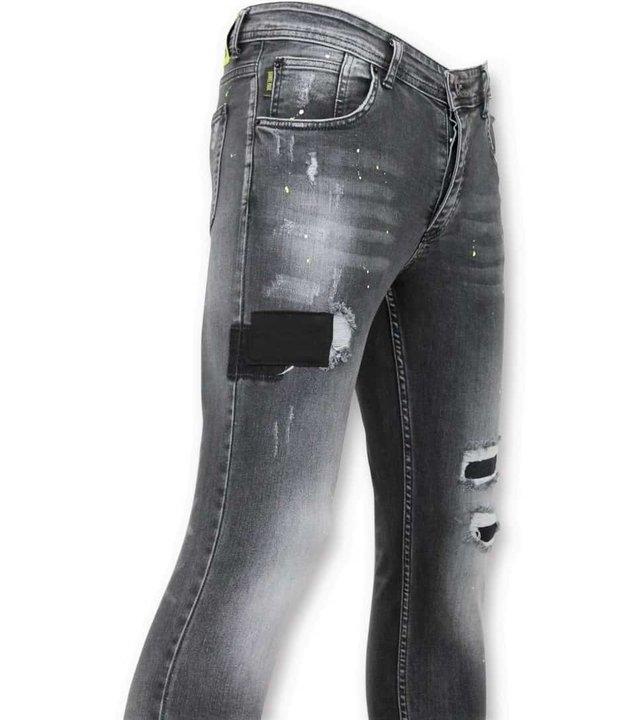 True Rise Skinny Fit Jeans - Hose Mit Löchern und Abgenutzt - A13D - Grau