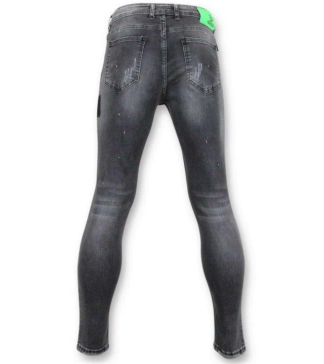 True Rise Enge Jeans Männer mit Farbspritzern - Skinny Fit Hosen - A13A - Grau