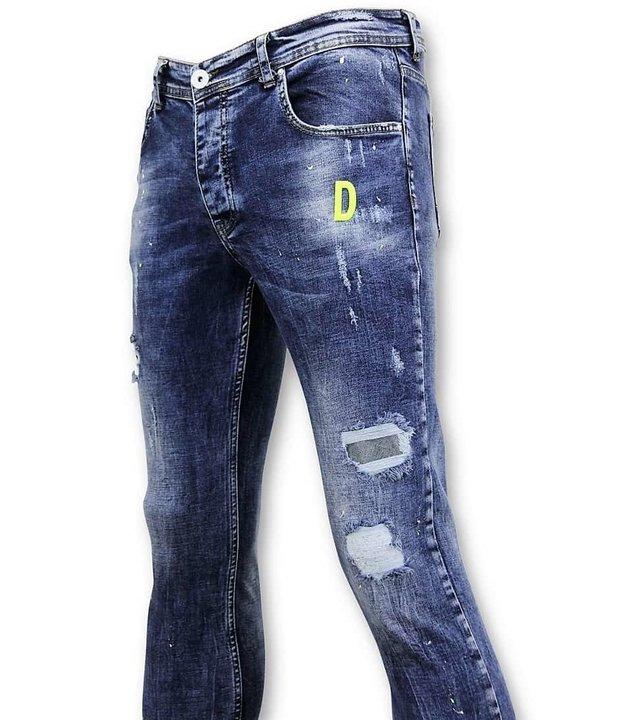 True Rise Jeans mit Farbspritzern - Skinny Fit Jeans - A35A - Blau