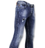 True Rise Jeans mit Farbspritzern - Malen Sie Tropfen Jeans - A35B - Blau
