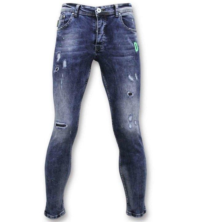 True Rise Exklusive Malen Sie Tropfen Jeans - Skinny Jeans Men - A35E - Blau