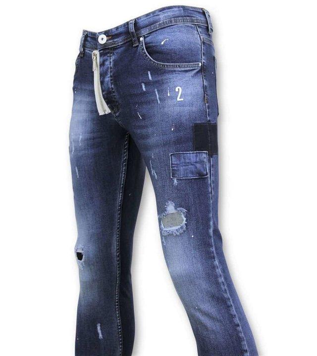 True Rise Exklusive Malen Sie Tropfen Hosen - Skinny Fit Jeans Men - A18A - Blau