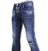 True Rise Exklusive Zerrissene Jeans - Skinny Fit Jeans - A18C - Blau