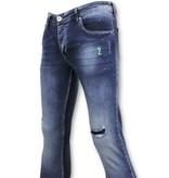 True Rise Zerrissene Hosen Farbe Drops - Skinny Jeans Men - A18E - Blau