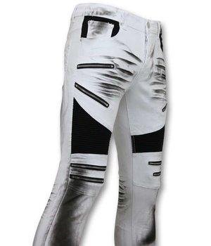 True Rise Beschädigte Fit Biker Jeans - Slim Fit Männer Hose - 3025-1 - Weiß