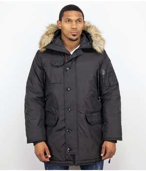 Just Key Jacken mit Fellkragen - Winterjacken Herren Lange - Parka  - Schwarz