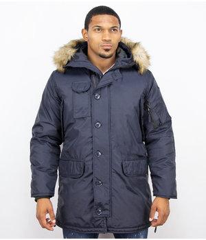 Just Key Jacken mit Fellkragen - Winterjacken Herren Lange - Parka - Blau