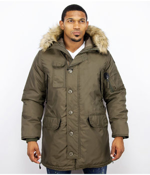 Just Key Jacken mit Fellkragen - Winterjacken Herren Lange - Parka - Grün