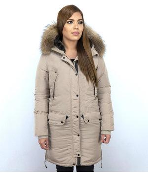 Macleria Winterjacke Damen - Parka mit Echtfell - Beige