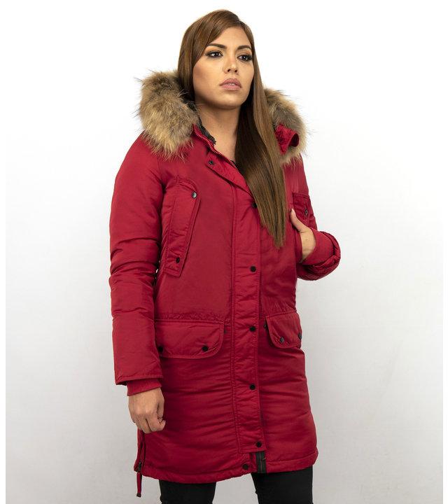 Macleria Winterjacke Damen - Parka mit Echtfell - Rot