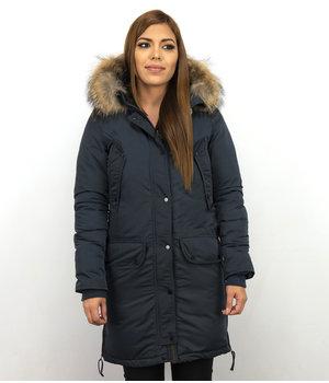 Macleria Winterjacke Damen - Parka mit Echtfell - Blau