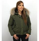 Macleria Winterjacken mit Fellkapuze Damen - Kurze Jacke - Grün