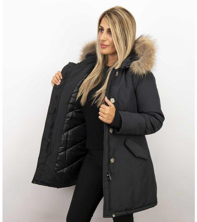 Gentile Bellini Jacken mit Fellkragen - Winterjacken Damen Lang - Großer Pelzkragen - Schwarz