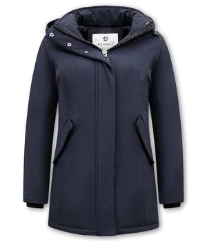Matogla Damen Wintermantel Parka - Slim Fit - Blau