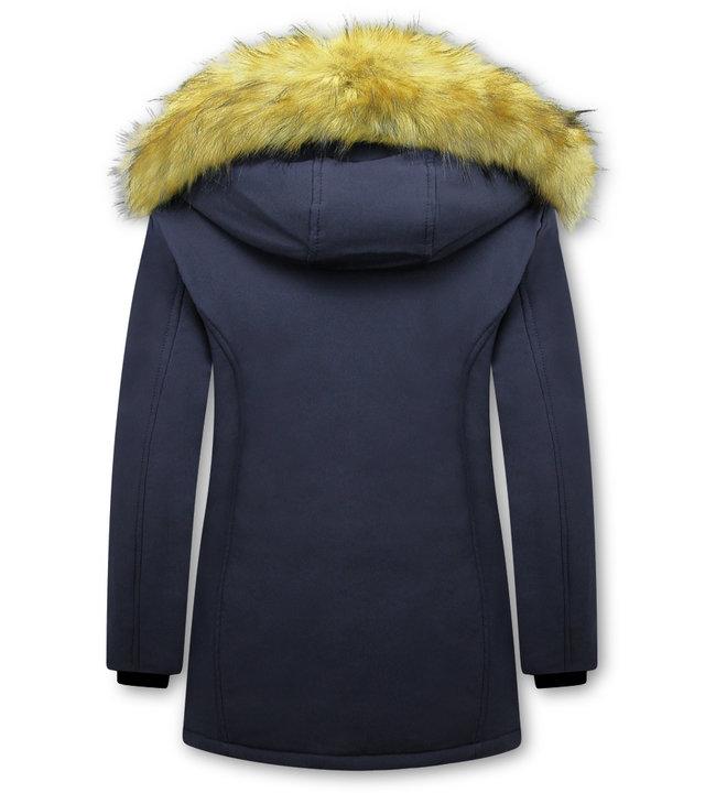 Matogla Damen Winterjacke mit Kunstpelzkragen - Slim Fit - Blau