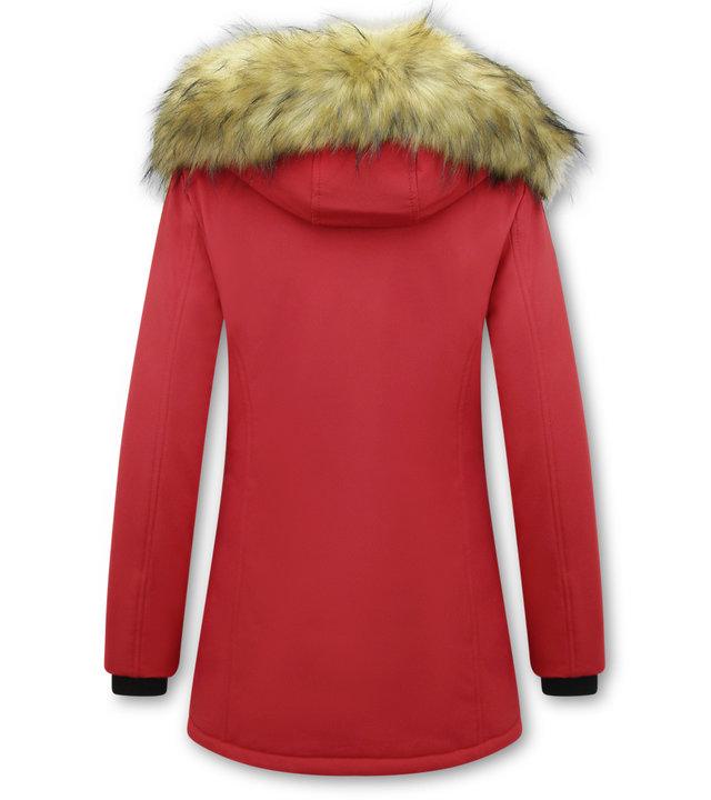 Matogla Damen Winterjacke mit Kunstpelzkragen - Slim Fit - Rot