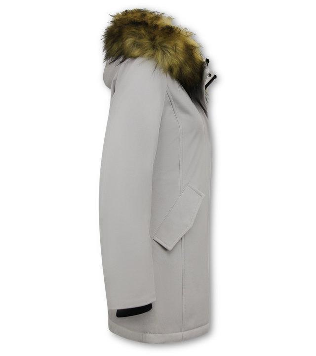 Matogla Damen Winterjacke mit Kunstpelzkragen - Slim Fit - Beige