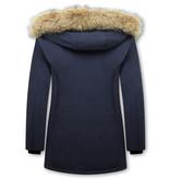 Matogla Damen Winterjacke - Mit Echtpelzkragen - Slim Fit - Blau