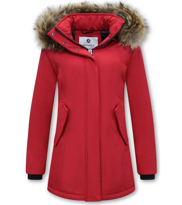 Matogla Damen Winterjacke - Mit Echtpelzkragen - Slim Fit - Rot