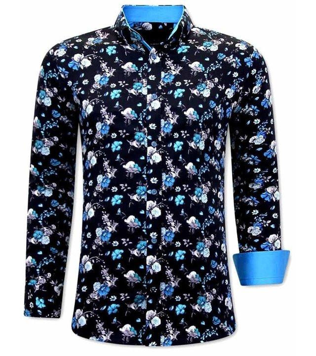 Gentile Bellini Exklusive Herren Hemden Online - 3066 - Blau / Schwarz