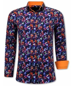 Gentile Bellini Luxus Männer Slim Fit Hemden - 3071 - Orange / Lila
