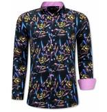 Gentile Bellini Luxus Paisley Herren Hemden - 3070 - Pink / Schwarz
