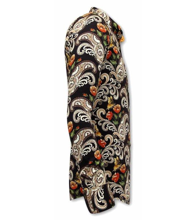 Gentile Bellini  Luxus Paisley Herren Hemden - 3073 - Braun / Schwarz