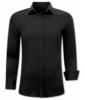 Gentile Bellini Luxus Klassische Herrenhemden - Slim Fit - 3078 - Schwarz