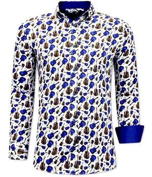 Tony Backer Luxus Klassische Herrenhemden  Gitaar Print - 3069 - Blau