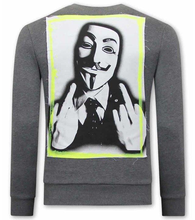 Tony Backer Anonymous Männer Sweatshirt  -  Grau